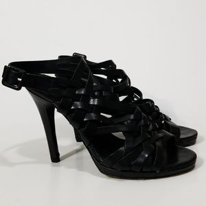 DVF Black Gladiator Strappy Leather Heels 8